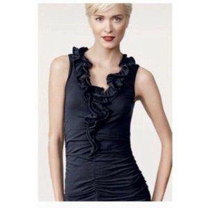 CAbi Style #564 Lace and Taffeta Ruffle V-Neck Top